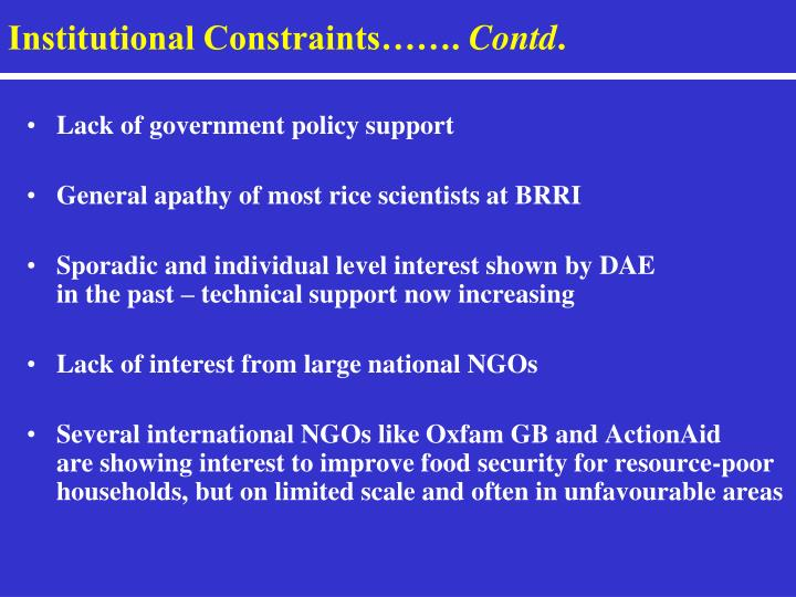 Institutional Constraints…….