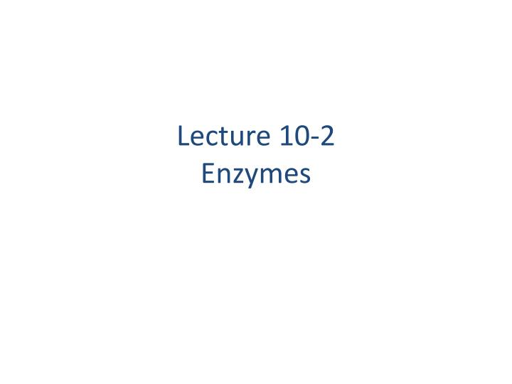 lecture 10 2 enzymes