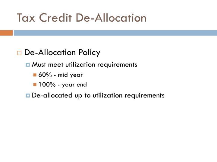 Tax Credit De-Allocation
