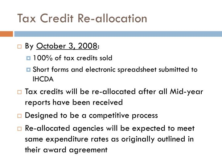 Tax Credit Re-allocation