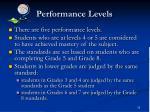 performance levels1