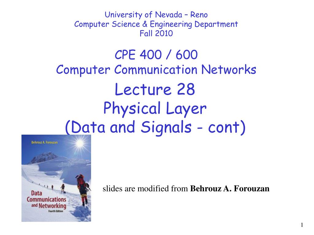 PPT - Lecture 28 Physical Layer (Data and Signals - cont