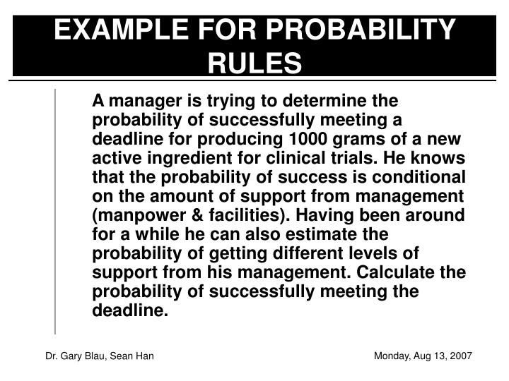 EXAMPLE FOR PROBABILITY RULES