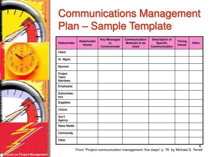 Communications Management Plan – Sample Template
