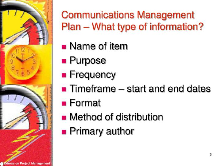Communications Management Plan – What type of information?