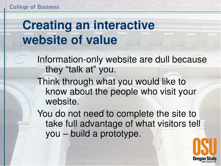 Creating an interactive website of value