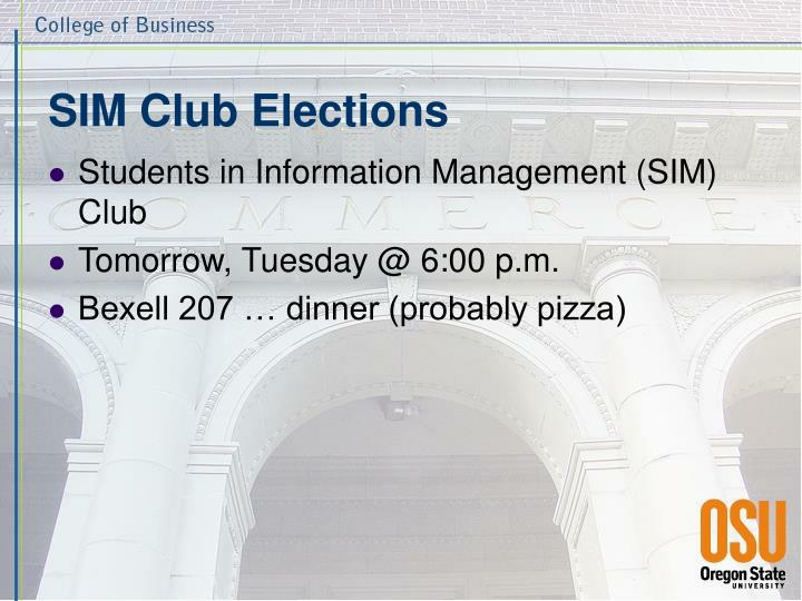 Sim club elections
