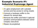 example scenario 1 industrial espionage agent