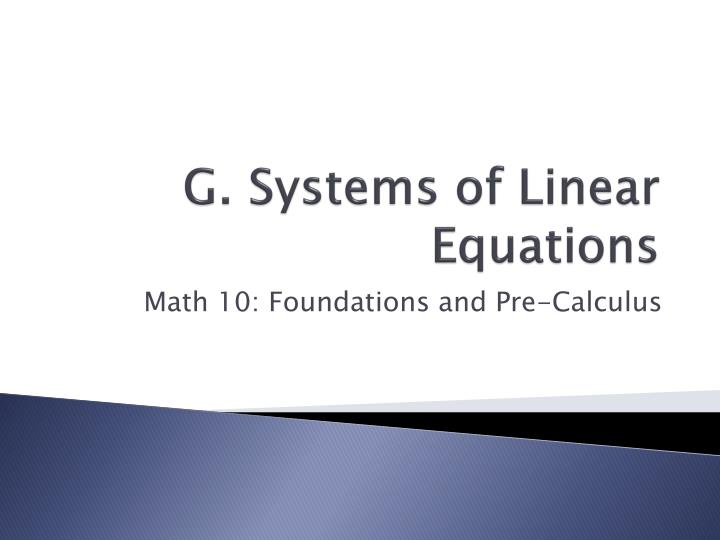 g systems of linear equations n.