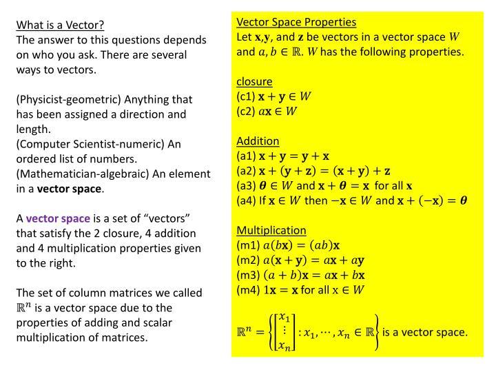 Vector Space Properties