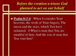 before the creation a triune god planned to act on our behalf13