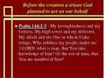 before the creation a triune god planned to act on our behalf14