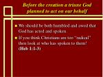 before the creation a triune god planned to act on our behalf18
