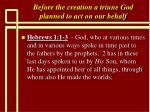 before the creation a triune god planned to act on our behalf19