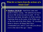 what do we learn from the actions of a triune god2