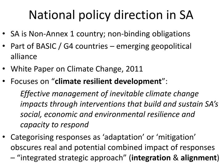 National policy direction in SA
