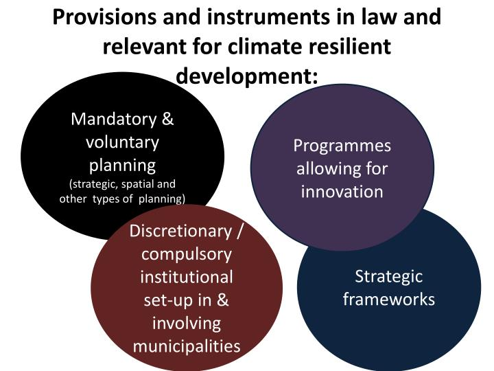 Provisions and instruments in law and relevant for climate resilient development: