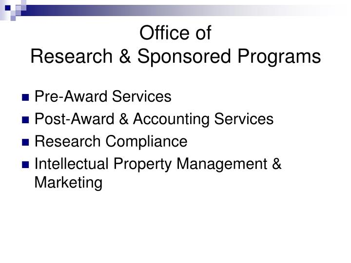 Office of research sponsored programs