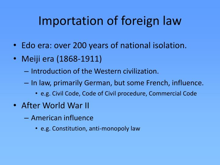 Importation of foreign law
