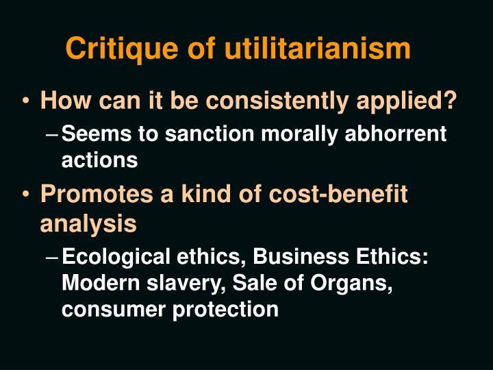 a critique of utilitarianism