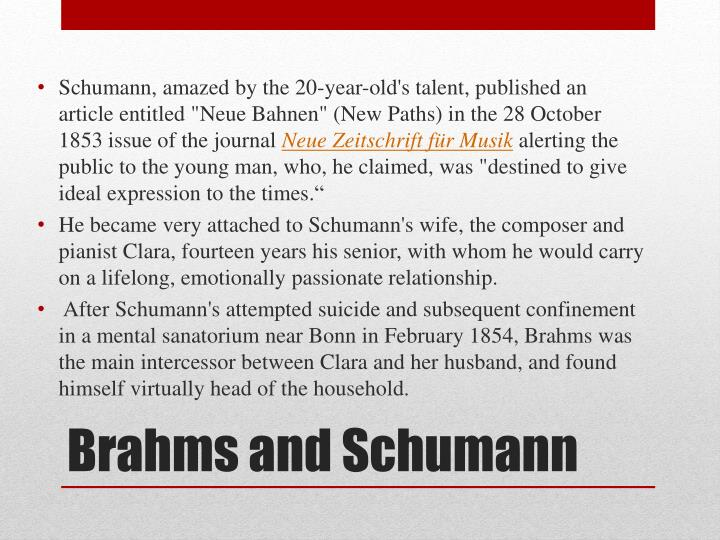 Schumann, amazed by the 20-year-old's talent, published an article entitled ""
