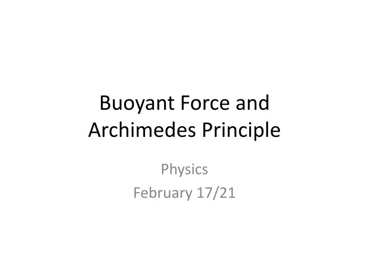 buoyant force and archimedes principle n.
