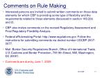 comments on rule making
