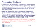 presentation disclaimer
