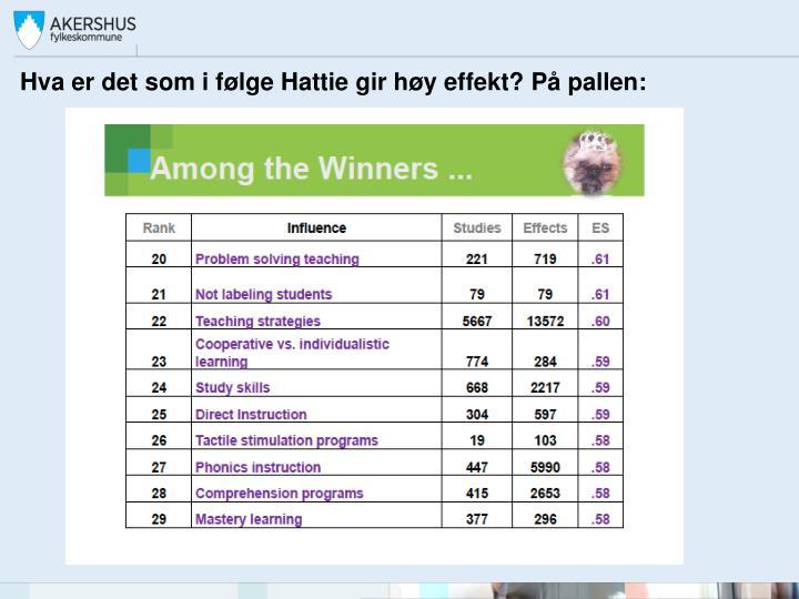 Hva er det som i følge Hattie gir høy effekt? På pallen: