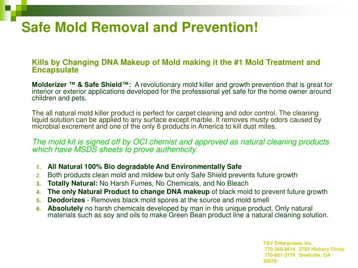 Safe mold removal and prevention