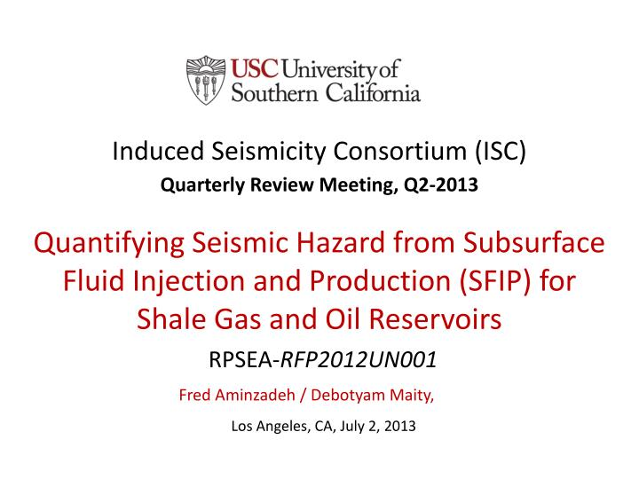induced seismicity consortium isc n.