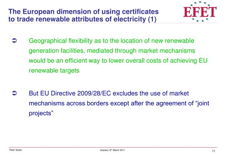 The European dimension of using certificates