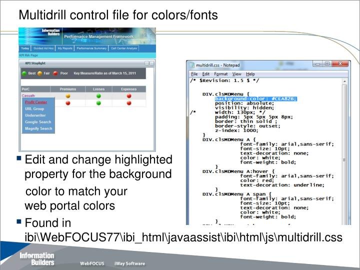 Multidrill control file for colors/fonts