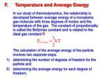 f temperature and average energy