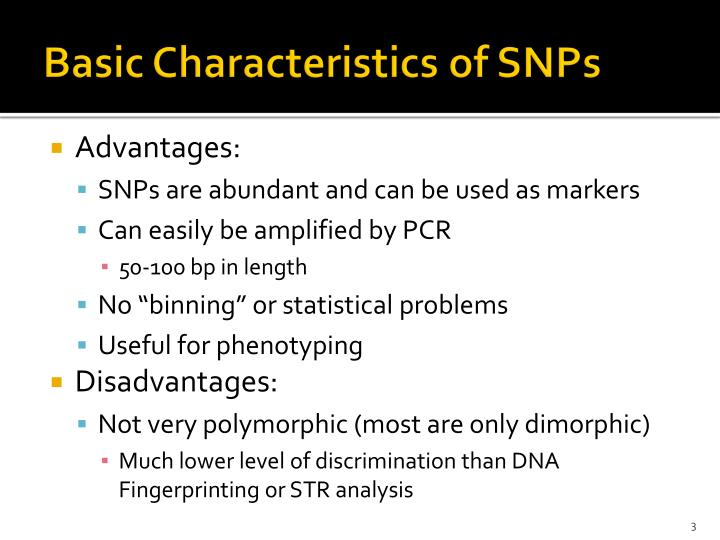 Basic characteristics of snps