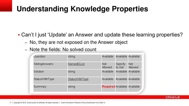 Understanding Knowledge Properties