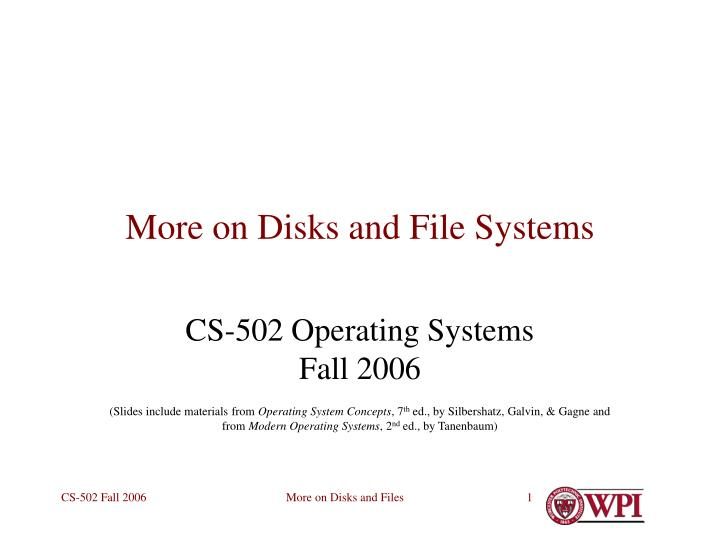 more on disks and file systems n.