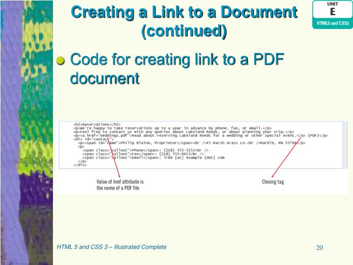 Creating a Link to a Document (continued)