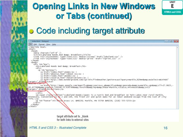 Opening Links in New Windows