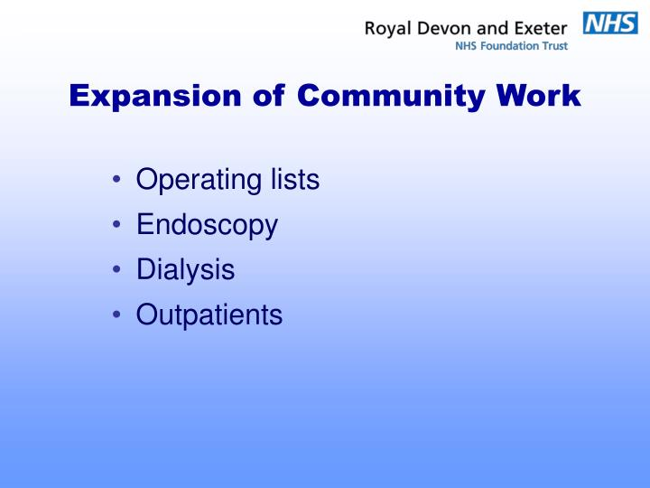 Expansion of Community Work