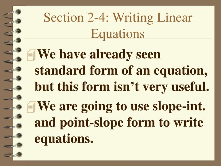 section 2 4 writing linear equations n.