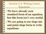 section 2 4 writing linear equations