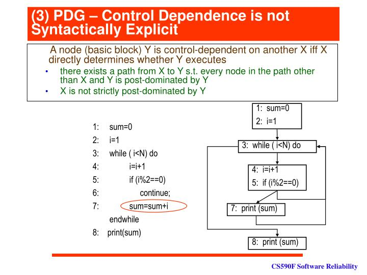 (3) PDG – Control Dependence is not Syntactically Explicit