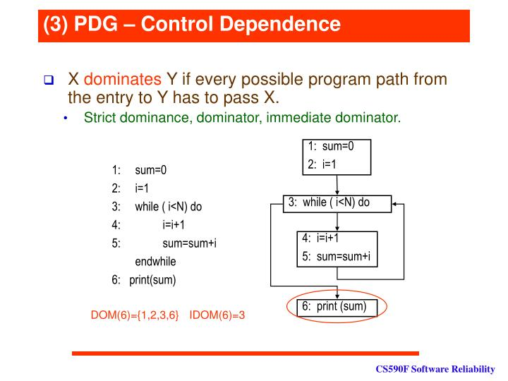 (3) PDG – Control Dependence