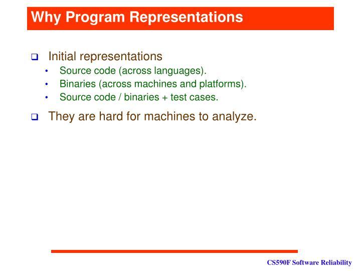 Why program representations