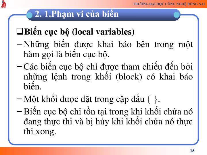 Biến cục bộ (local variables)
