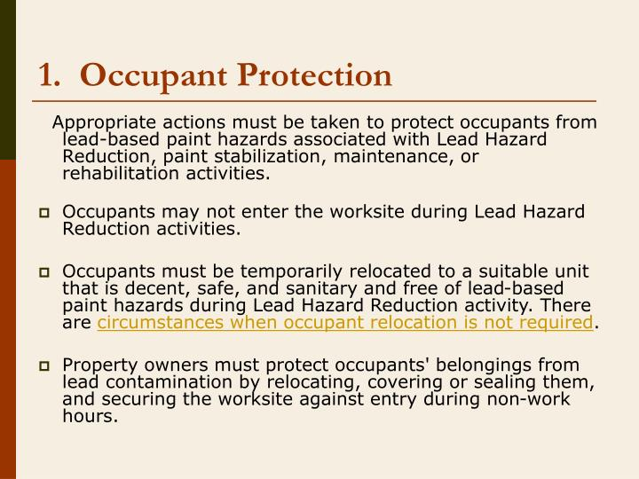 1.  Occupant Protection