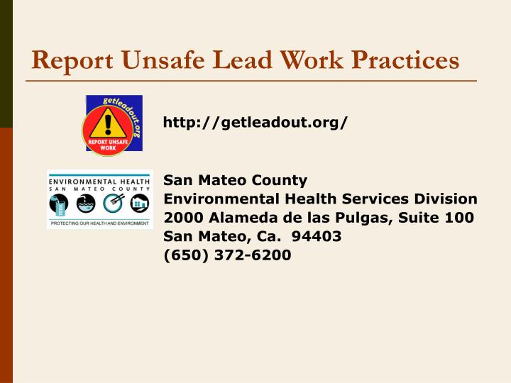 Report Unsafe Lead Work Practices