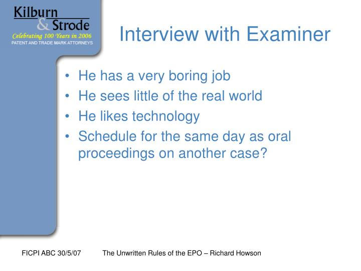 Interview with Examiner