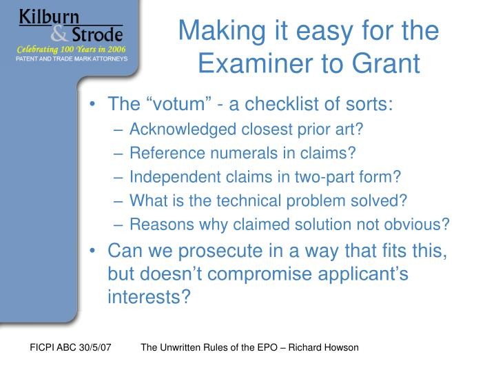 Making it easy for the Examiner to Grant